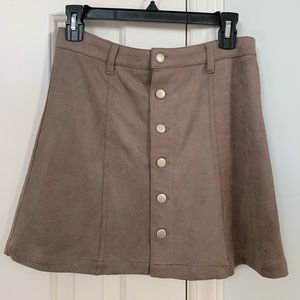Olivaceous Tan Suede Button Skirt
